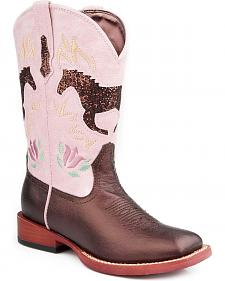Roper Children's Sparkly Horse Inlay Cowgirl Boots - Square Toe