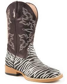 Roper Girls' Glittery Zebra Print Cowgirl Boots - Square Toe