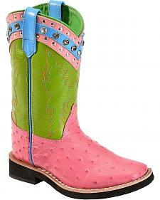 Red Ranch Youth Pink Ostrich Print Cowgirl Boots - Square Toe