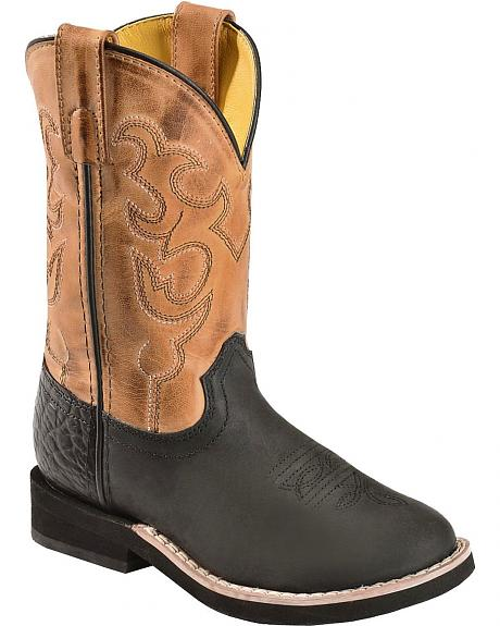 Red Ranch Children's Black & Tan Cowboy Boots - Round Toe