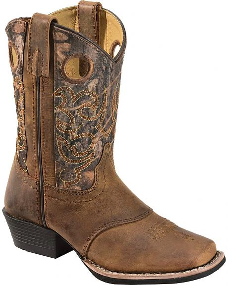 Red Ranch Children's Camo Cowboy Boots - Square Toe