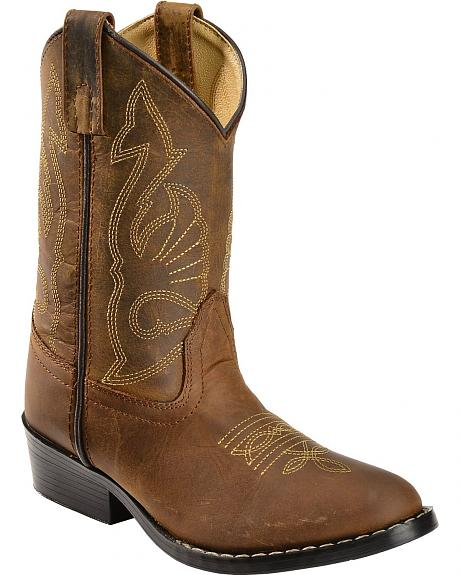 Red Ranch Children's Distressed Cowboy Boots - Round Toe