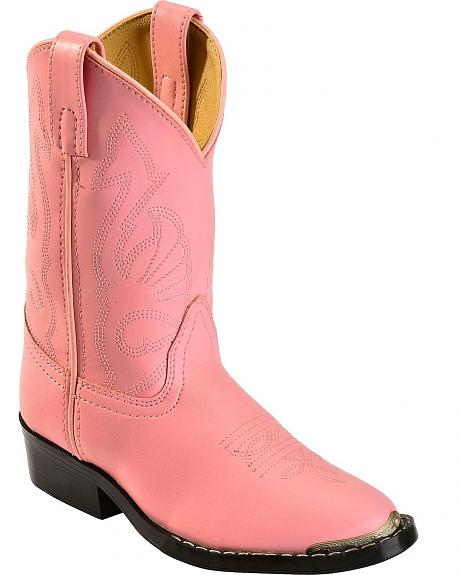 Red Ranch Youth Pink Cowgirl Boots - Round Toe