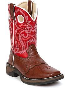 Durango Boys' Red Lil' Durango Saddle Vamp Cowboy Boots - Square Toe