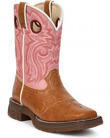 Durango Youth Pink Lil' Flirt Cowgirl Boots - Square Toe