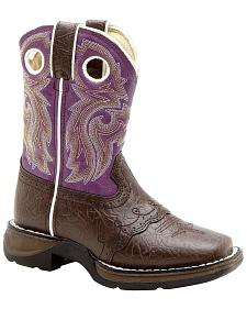 Durango Youth Girls' Purple Saddle Vamp Lil' Flirt Cowgirl Boots - Square Toe