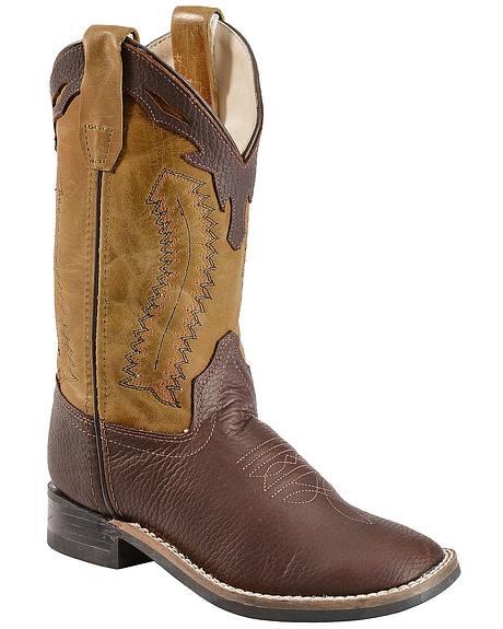 Old West Boys' Thunder Olive Cowboy Boots