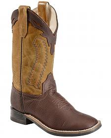 Old West Youth Boys' Thunder Olive Cowboy Boots - Square Toe