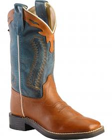 Old West Boys' Barnwood Cowboy Boots - Square Toe