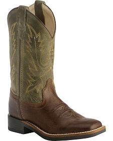 Old West Youth Boys' Stitched Olive Cowboy Boots - Square Toe