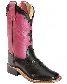 Old West Girls' Hot Pink Cross Inlay Cowgirl Boots - Square Toe