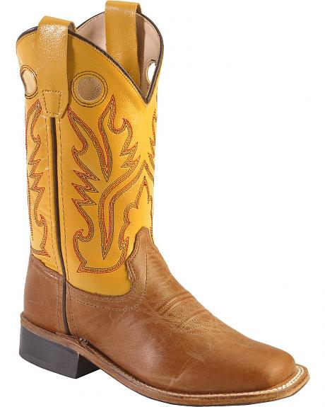 Old West Youth Tan Canyon Cowboy Boots - Square Toe
