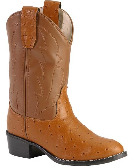 Old West Boys' Ostrich Print Cowboy Boots - Round Toe