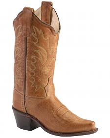 Old West Boys' Tan Canyon Cowboy Boots - Snip Toe