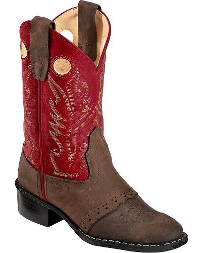 Old West Youth Red Saddle Vamp Cowboy Boots Western & Country CCY2154Y