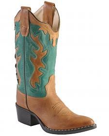 Old West Boys' Western Inlay Cowboy Boots - Pointed Toe