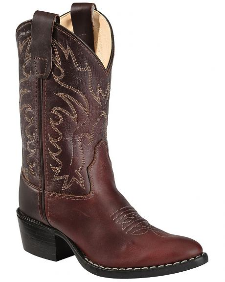 Old West Boys' Oiled Western Cowboy Boots - Pointed Toe