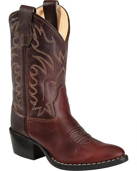 Old West Youth Girls' Oiled Western Cowboy Boots
