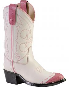 Old West Girls' Pink Ostrich Print Wingtip Cowgirl Boots - Medium Toe