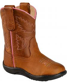 Old West Toddler Girls' Tubbies Light Cowgirl Boots - Round Toe