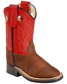 Old West Toddler Boys' Orange Cowboy Boots - Square Toe