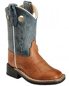 Old West Toddler Boys' Barnwood Cowboy Boots - Square Toe