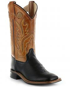 Old West Boys' Black Canyon Tan Cowboy Boots - Square Toe