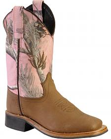 Old West Girls' Pink Realtree Camo Cowgirl Boots - Square Toe