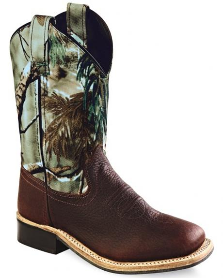 Old West Kids' Oiled Rust Camo Cowboy Boots - Square Toe