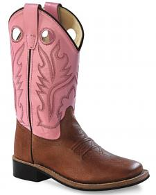 Old West Youth Girls' Pink Canyon Cowgirl Boots