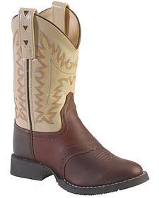 Old West Youth Boys' Saddle Vamp Cowboy Boots - Round Toe