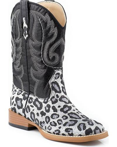 Roper Toddler Girls Glittery Leopard Print Cowgirl Boots Western & Country 09-017-1901-0070T