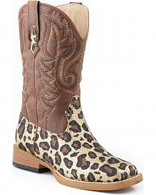 Roper Girls' Glittery Brown Leopard Print Cowgirl Boots - Square Toe