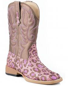 Roper Toddler Girls' Glittery Pink Leopard Print Cowgirl Boots