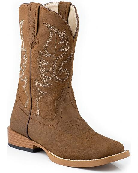 Roper Toddler Boys' Tan Traditional Western Stitched Cowboy Boots