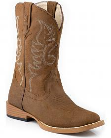 Roper Children's Tan Traditional Western Stitched Cowboy Boots