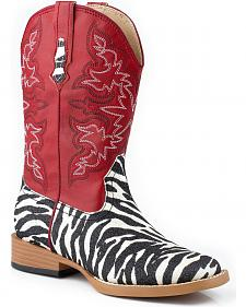 Roper Toddler Girls' Red Glittery Zebra Print Cowgirl Boots