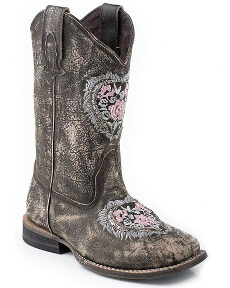 Roper Girls' Heart Embroidered Glitter Inlay Cowgirl Boots - Square Toe