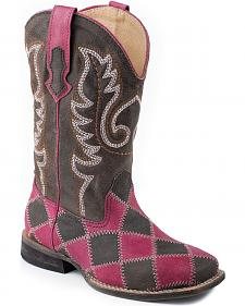 Roper Girls' Pink & Brown Patchwork Cowgirl Boots