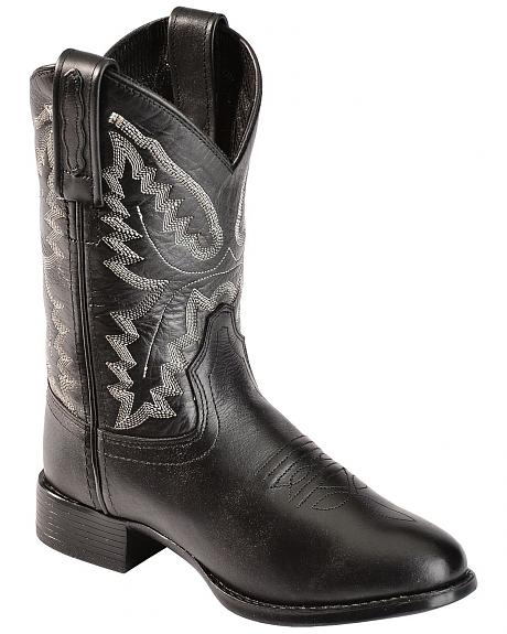 Old West Boys' Ultra Flex Black Cowboy Boots