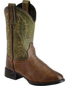 Old West Youth Boys' Ultra Flex Chocolate Cowboy Boots