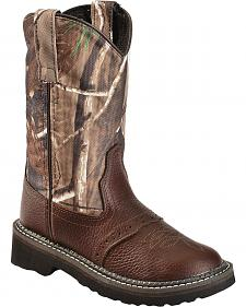Old West Boys' Camo Tubbies Cowboy Boots - Round Toe