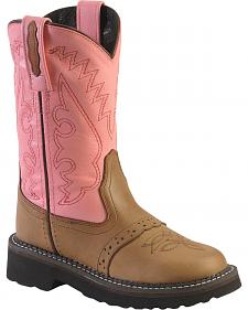 Old West Girls' Light Pink Saddle Vamp Cowgirl Boots - Round Toe