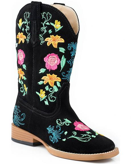Roper Toddler Girls' Black Floral Embroidered Cowgirl Boots