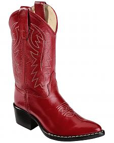 Old West Girls' Red Leather Cowgirl Boots