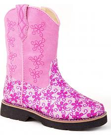 Roper Infant Girls' Pink Glitter Flower Cowgirl Boots