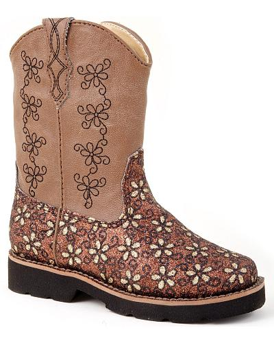 Roper Infant Girls Brown Glitter Flower Cowgirl Boots Western & Country 09-017-1801-0925 BR