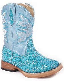 Roper Toddler Girls' Blue Glittery Flower Cowgirl Boots