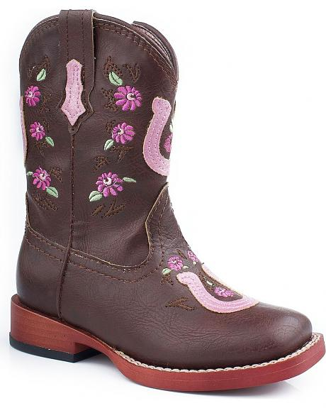 Roper Toddler Girls' Horseshoe Flower Embroidered Cowgirl Boots
