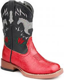 Roper Infant Girls' Sparkly Horse Inlay Cowgirl Boots